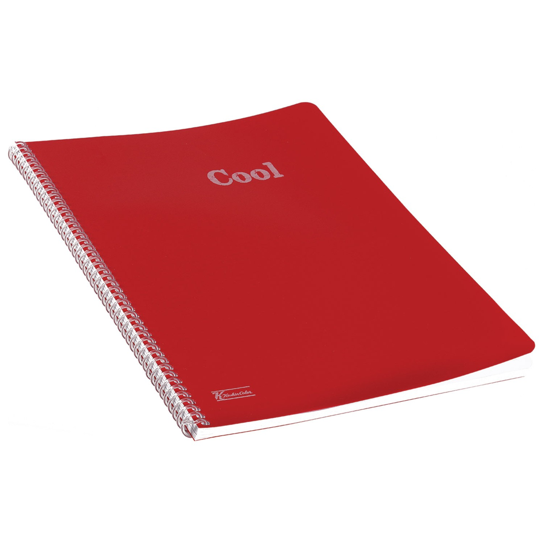 Keskin Color Plastik Kapak Spiralli Cool Defter A4 72 Yaprak Kareli - Kırmızı